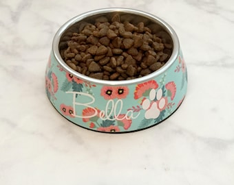 Personalized Dog Bowl, Floral Printed Dog Bowl, Mint Dog Bowl, Personalized New Puppy Gift,