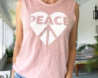 Peace / Heart - Rose Quartz 100% Cotton Muscle Tee