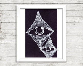 Black and White Art, Trippy Eye Art, Original Drawing