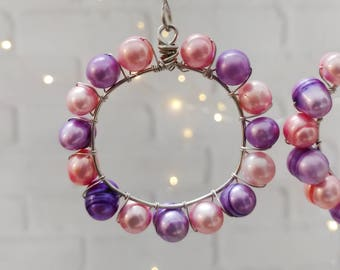 Pink and Purple Pearl Valentine's Day Ornaments, Set of 3