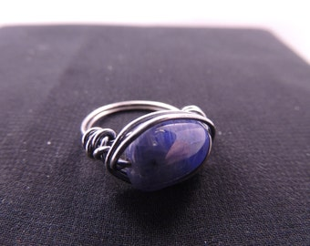 Kyanite and Antiqued Sterling Silver Wire Wrapped Ring