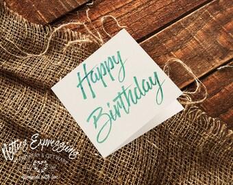 Happy Birthday/Square Birthday Card/Greeting Card/Stationery/Card/Birthday Card/Happy Birthday Card/Calligraphy Birthday Card/Generic Card