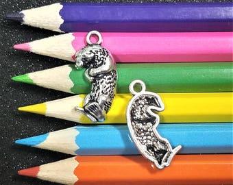 2 PCS - Otter Animal Silver Tone Charm Pendant C1115