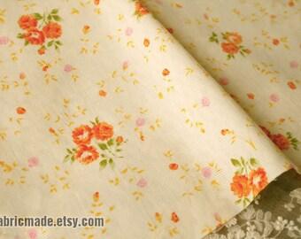 Jacquard Cotton, Shabby Chic Rose Cotton Fabric, Orange Pink Rose Flower Cotton  -1/2 yard