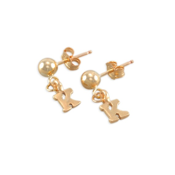 Little Girl Initial Earrings 14K gold posts personalized