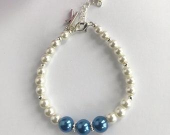 Letter K Bracelet, Letter Bracelet, Personalized Bracelet, Beaded Initial Bracelet, Initial Jewelry, Bridesmaid Bracelet, Mother's Day Gift