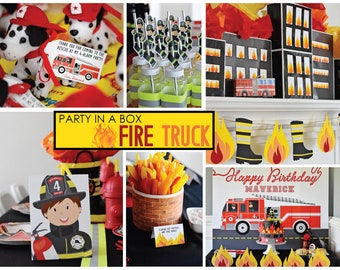 "Fire Truck Firefighter ""Printable Party in a Box"", Complete Party Kit, Fire Hose, Hydrant PDF Fireman, Boy Birthday, Kid Sound Alarm Blaze"