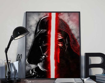 Kylo Ren & Darth Vader with Lightsaber Star Wars Art Print Poster - The Force Awakens PRINTABLE 8x10 inches - Ideal Last Minute Gift