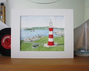 Plymouth Hoe Lighthouse Smeaton's Tower Devon Watercolour Painting