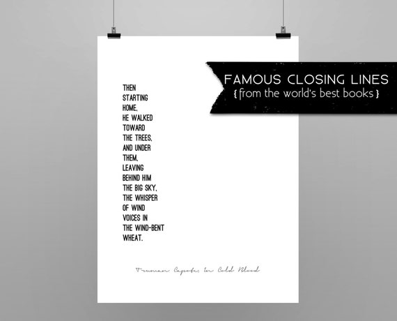 In Cold Blood Quotes And Page Numbers: IN COLD BLOOD // Truman Capote // Quote Poster // Minimalist