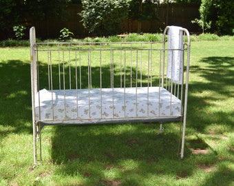 1920s antique wrought iron baby crib