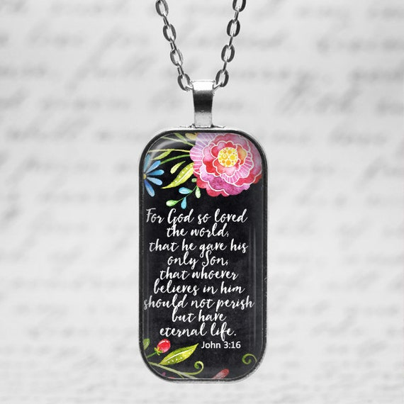 JOHN 3:16 Bible Verse Pendant with chain - 18 or 24 inches - GIFT BOX included