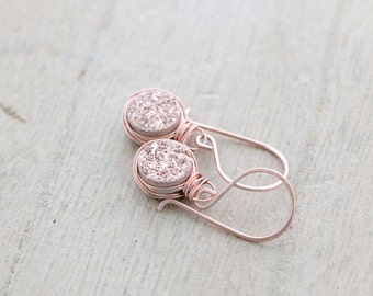 Druzy Dangle Earrings , Gilded Rose Gold Bezel Wrapped Drops , Handmade Bridesmaid Gifts , Wedding Jewelry