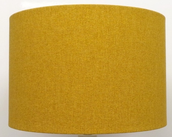 Shetland Mustard Brushed Linen Style Cylinder / Drum Lampshades / Pendant  Shade / Table