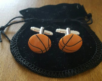 Basketball Cufflinks, sports cufflinks, gift for him, fathers day gift, 4th of July, birthday gift, anniversary gift, sports fan gift