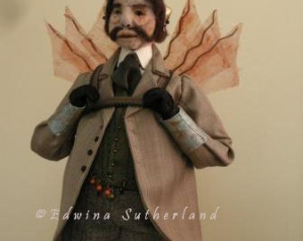 Sculpture needle felted steampunk doll