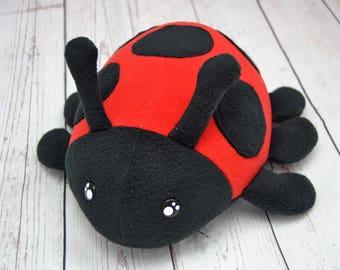 Ladybird plushie , handmade kawaii stuffed insect ladybird bug bugs cuddly toy plushies cute