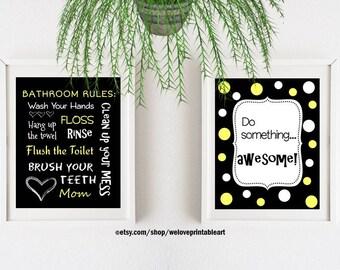Yellow and Black Kids Bathroom Art Decor Bathroom Artwork Printable Art Print Instant Download Bathroom Wall Quote Sign SET of 2
