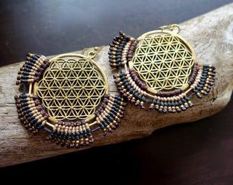 Flower of Life Macrame Brass Earrings | Brown, Sacred Geometry | Bohemian Chic