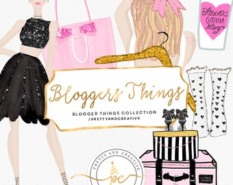 Fashion Blogger Clipart, Cute Planner Girl, Clipart Beauty Blog, Fashion Clipart, Travel, Bag, Coffee, Dress, Hair Clipart, Planner Girls