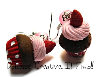 Cupcake earrings with icing and strawberries - polymer clay and cernit - polka dots - miniature - gift idea