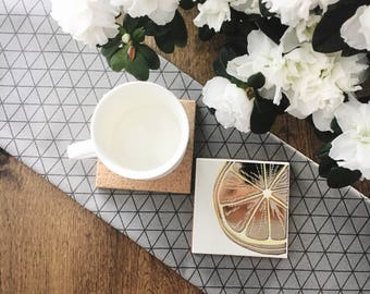 CITRUS - Ceramic Coasters set - Drinks coasters - Gift Idea