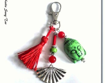 Bag charm, Keychain red and green Buddha ethnic style, Asian inspired