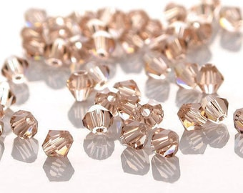 4mm Bicone Crystal Rose Pink Faceted 50 Beads