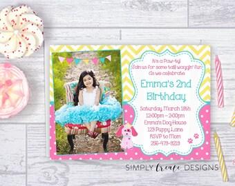 SALE Puppy Party Invite Puppy Invitation Photo Invite Jpeg DIGITAL File