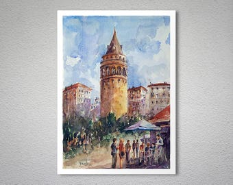 Lunch Break Under the Galata Tower, Istanbul Watercolor Painting by Faruk Koksal - - Poster Paper, Sticker or Canvas Print / Gift Idea