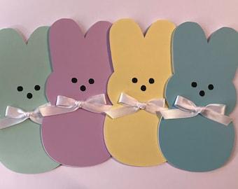 "Handmade Set of 4 Easter ""Peep"" Cards, Happy Easter, Bunny, Peep"