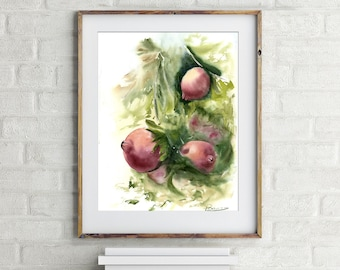 Pomegranate art Original watercolor Painting Fruit Artwork Kitchen Wall decor Vegetable tree illustration gift Watercolour Red Pomegranate