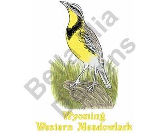Bird - Machine Embroidery Design, Wyoming Western Meadowlark