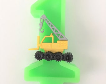 Yellow Crane Truck Birthday Number Candle