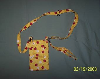 Ladybug Print Fabric Cell Phone Purse With Adjustable/Removable Shoulder Strap and Removable Wrist Strap