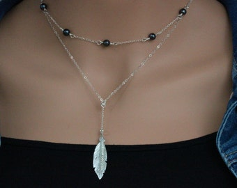 Feather Necklace -  long feather necklace - Feather Y necklace - Feather Lariat Necklace - Feather Layered Necklace - Lucky Feather Necklace