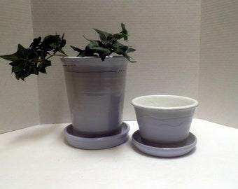 wheel thrown Stoneware Flower Pots with attached catch basins, light blue white and turquoise, set of 2