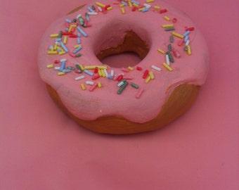 Full Size Pink Sprinkle Donut Fridge Magnet.