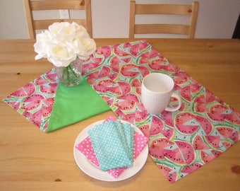 Watermelon Table Runner | Pink and Green Watermelon Slices, Aqua, Pastel, Watercolor Watermelon, Summer Table Runner, BBQ Table Runner