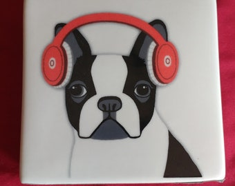 Ceramic Boston Terrier cube