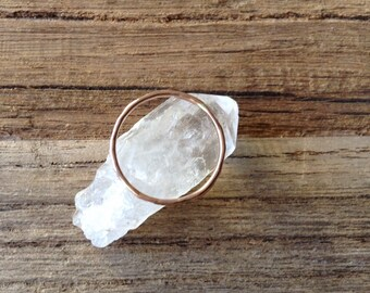 Size 7  14/20 Gold Filled Hammered Delicate Stacking Ring