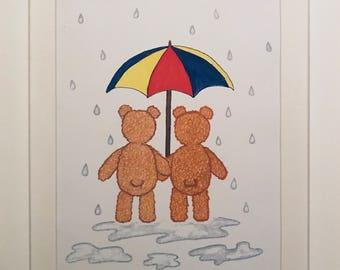 Framed Teddy Rainy Days print
