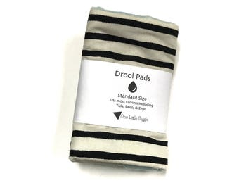 Drool Pads - Stripes with turquoise minky - Ready to ship