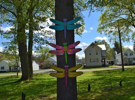 1 Dragonfly Yard Art Outdoor Wall Decor Fence Decoration Wood Painted Dragonflys Garden Decorations