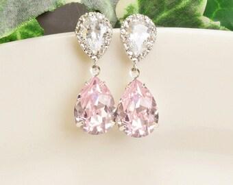 Light Pink Earrings - Swarovski Earrings Silver - Wedding Earrings - Bridesmaid Jewelry - Crystal Drop Earrings for Bridesmaids - Bridal