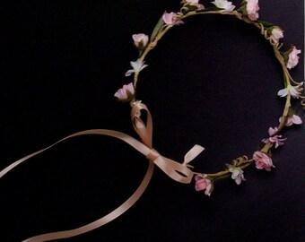 Peachy pink hair wreath wedding accessories silk flower crown Blush bridal photo prop halo faux circlet headwreath couronne fleurs garland