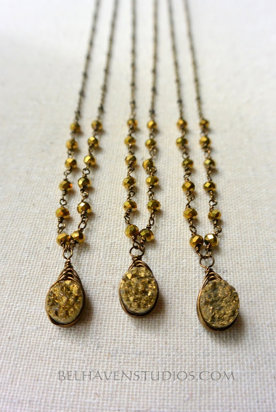 Gold Druzy agate gemstone wire wrapped crystals antiqued