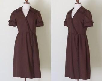 vintage 1970s brown wrap dress / vintage 70s Morty Sussman for Mollie Parnis brown dinner dress | S