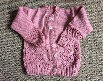 Pink knitted cardigan, pink sweater, toddler cardigan, toddler sweater