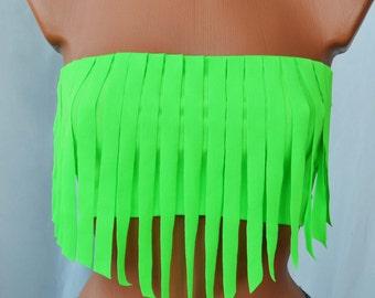 Spandex Bikini Top Spandex Tube Top Fringes Bikini Top Spandex Swimsuit Neon Yellow Neon Green Neon Orange Bikini Top Spandex Bikini Top